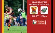 Team Selection – Carmarthen Quins RFC v Ebbw Vale RFC