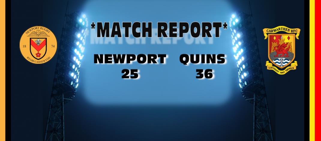 Match Report: Newport 25  Quins 36